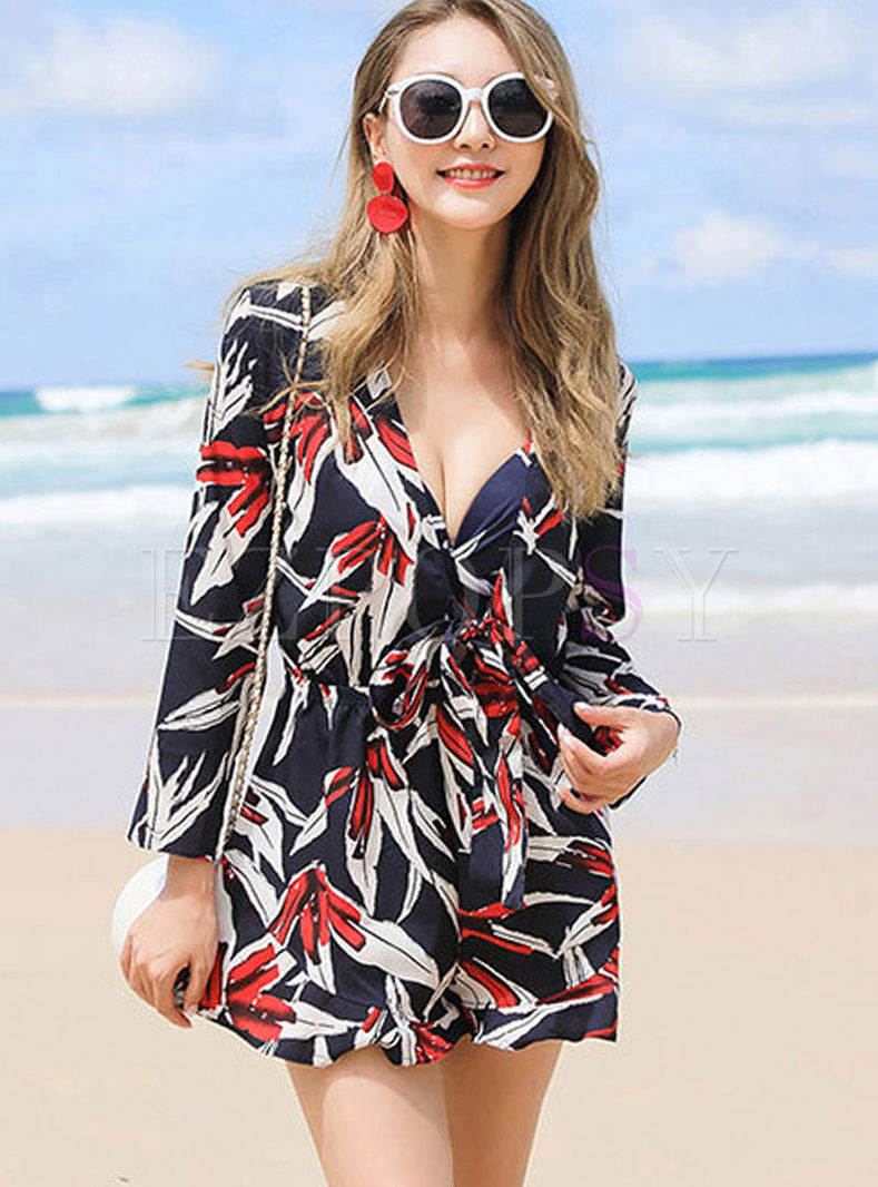 Deep V-neck Print Waist Cover-up Swimwear