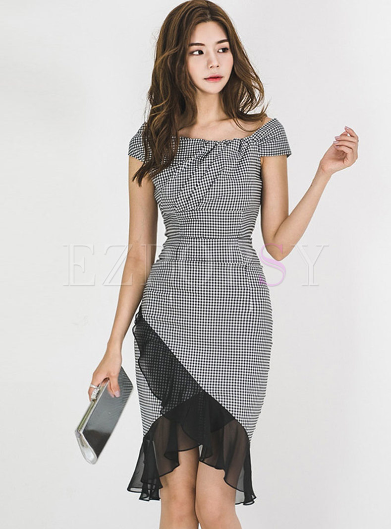 Plaid Splicing Slash Neck Asymmetric Sheath Dress