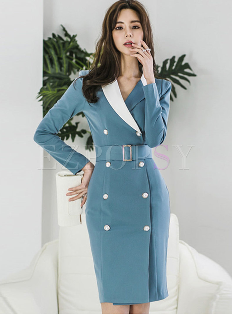 Long Sleeve Bodycon Dress With Belt