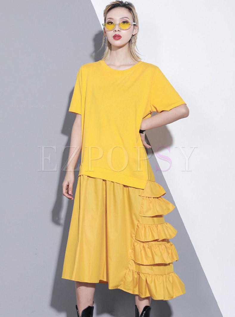 Chic Splicing O-neck Falbala Loose Dress
