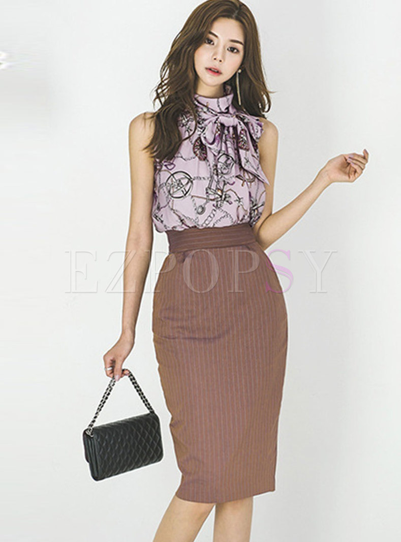Print Stand Collar Sleeveless Top & Striped Bodycon Skirt