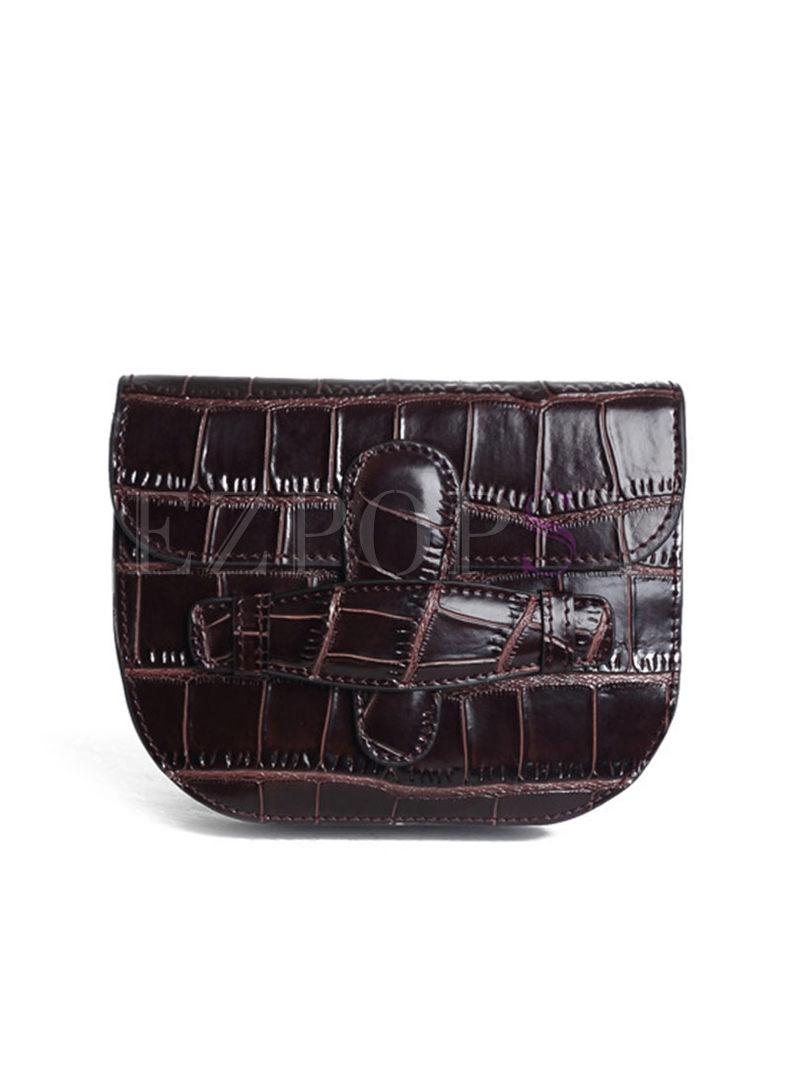 Vintage Genuine Leather Alligator Pattern Crossbody Bag