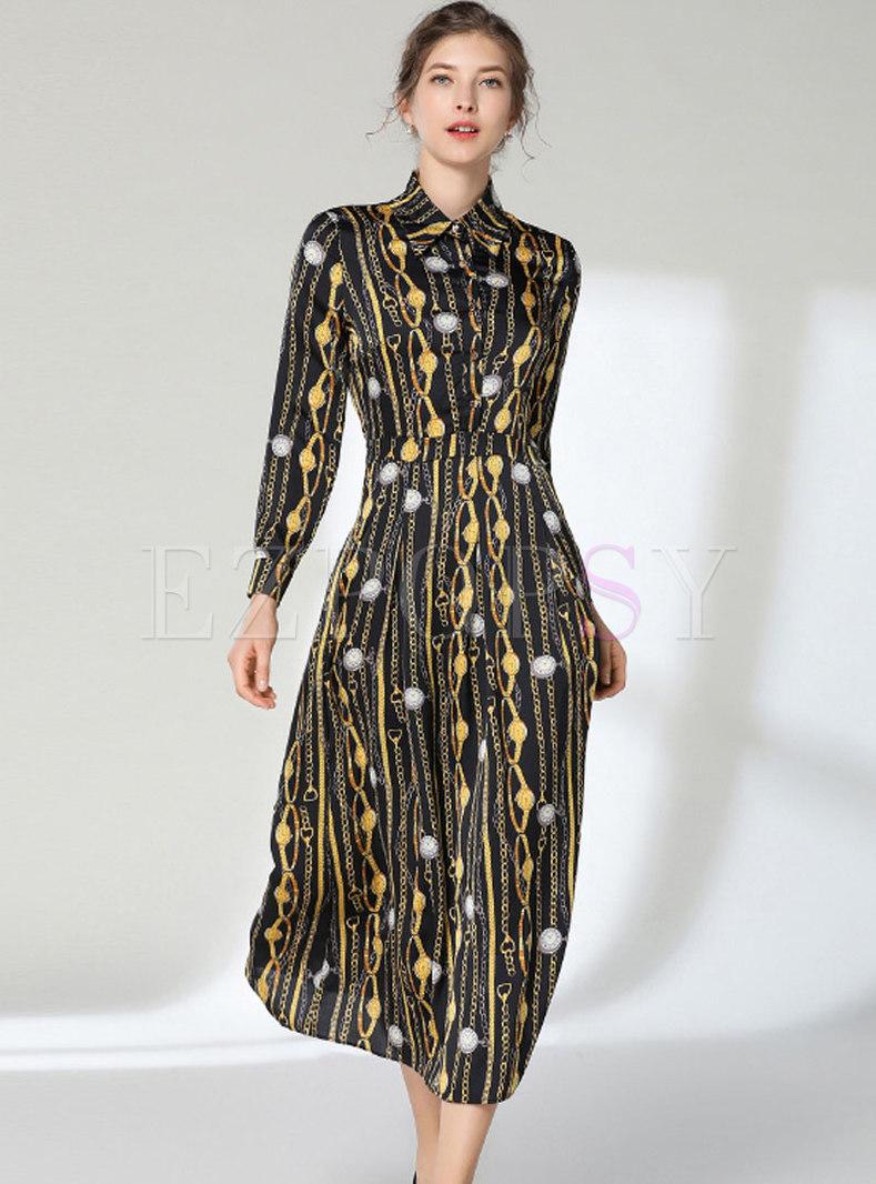 Fashion Turn-down Collar Print Slim Maxi Dress