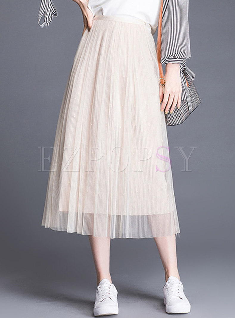Pure Color Elastic Waist Gauze Pleated Skirt