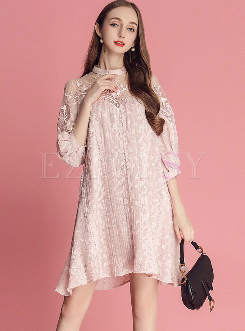 Standing Collar Mesh Splicing Shift Dress