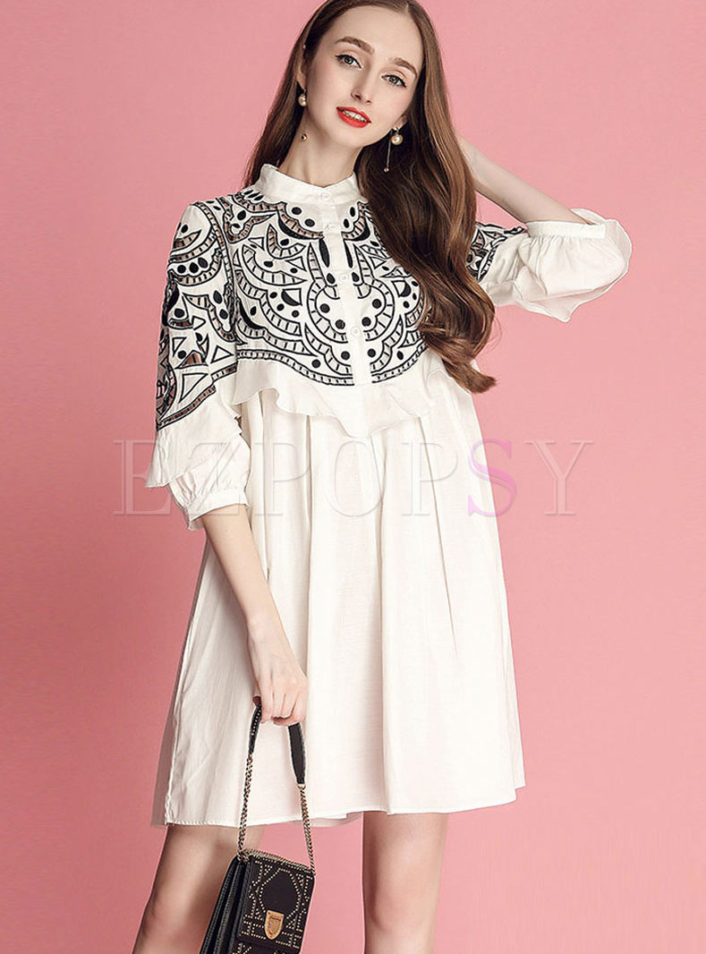 Standing Collar Hollow Out Plus Size Dress