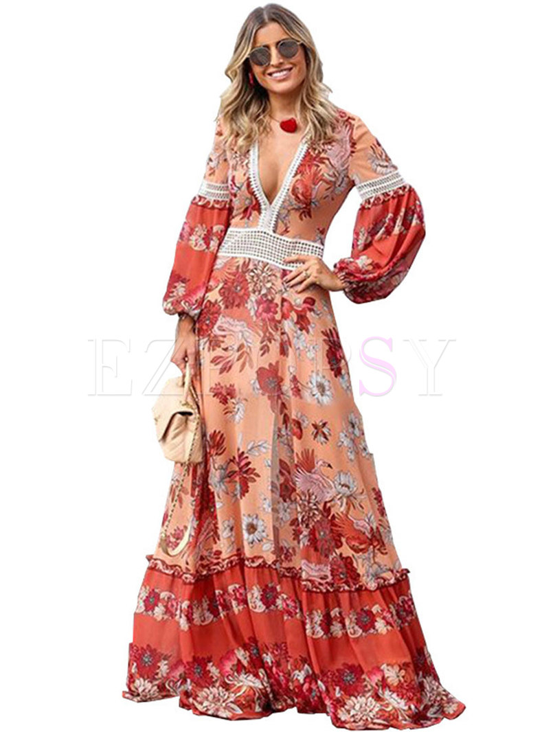 Stylish Bohemia Print V-neck Gathered Waist Maxi Dress