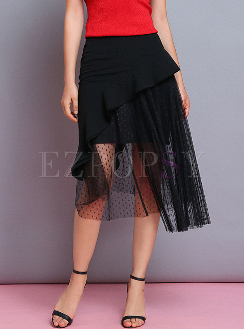 Asymmetric Polka Pot Splicing Mesh Sheath Skirt