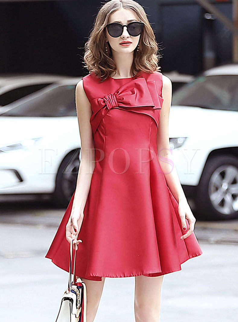 Elegant Bowknot Sleeveless Skater Dress