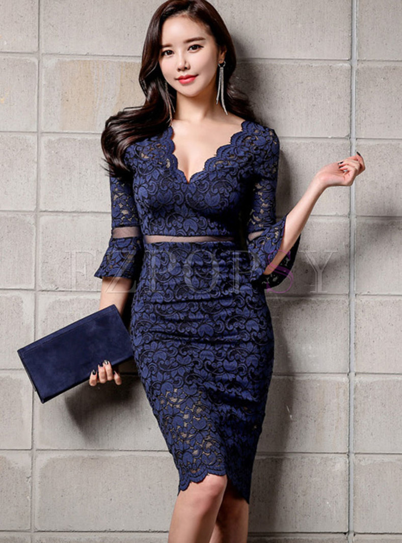 Lace Patchwork V-neck Openwork Bodycon Dress