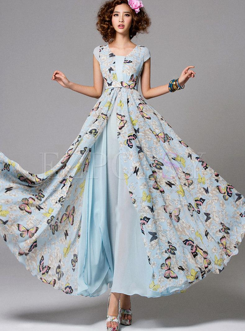 cheaper good texture best wholesaler Dresses | Maxi Dresses | Butterfly Print O-neck Gathered Waist Hem ...