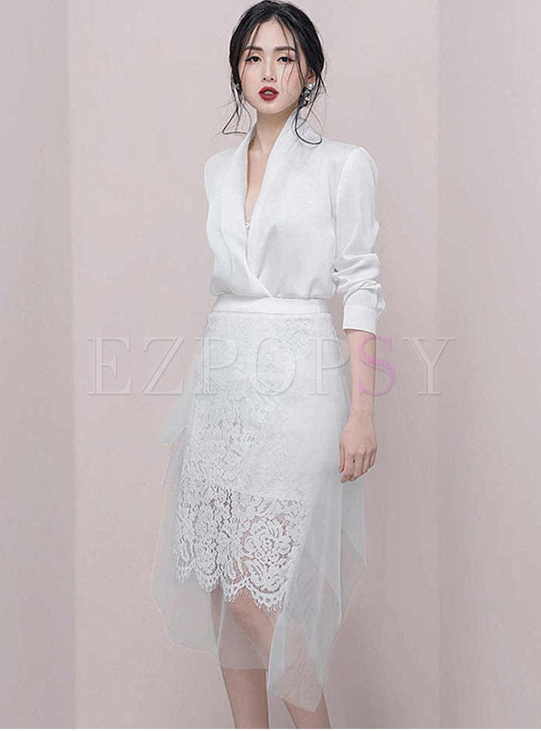 Chic V-neck Slim Blazer & Lace Splicing Sheath Skirt