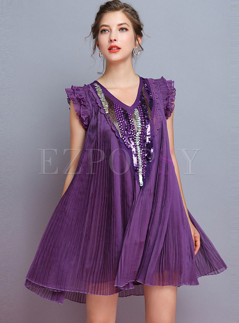 Trendy Splicing Beaded Sequined Pleated Shift Dress