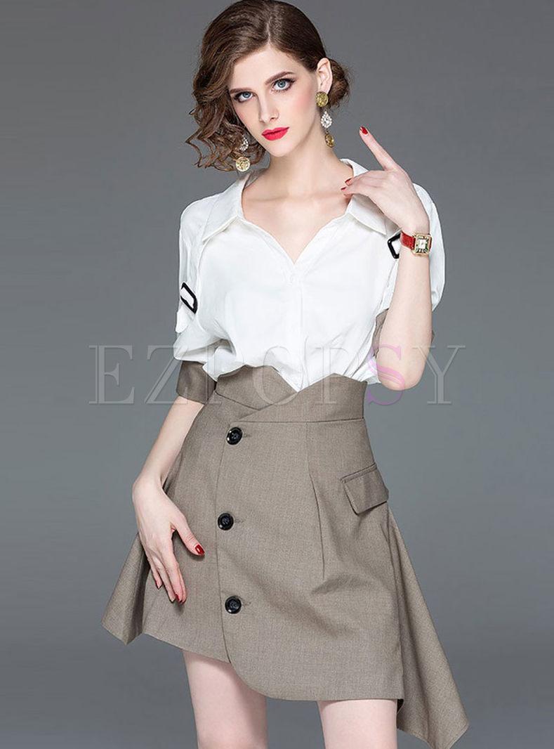 Casual White Lapel Blouse & Asymmetric Skirt
