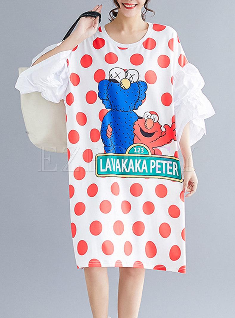 Chic Polka Dots Print Flare Sleeve T-shirt Dress