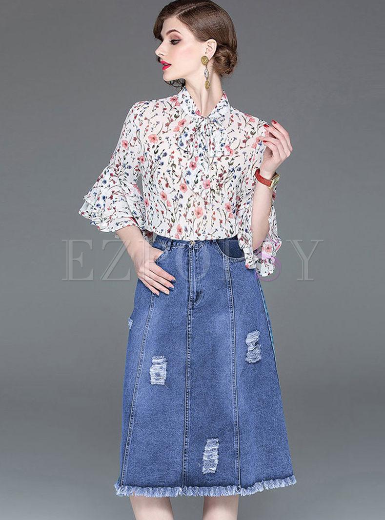 Flare Half Sleeve Print Blouse & Denim Skirt