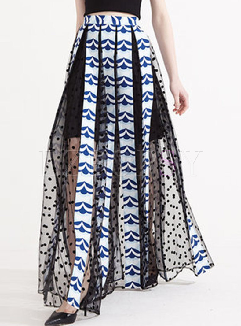 Chic Print Splicing Elastic Waist Long Skirt