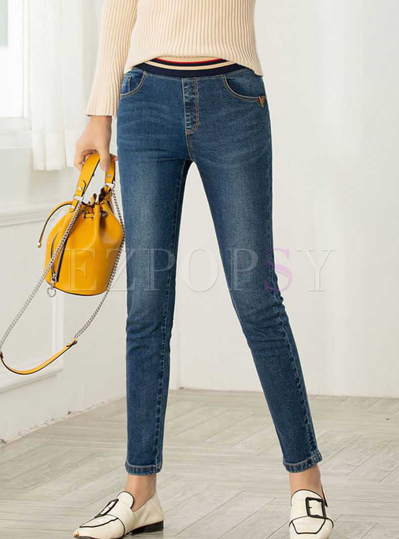 Fashion Elastic Waist Pencil Denim Pants