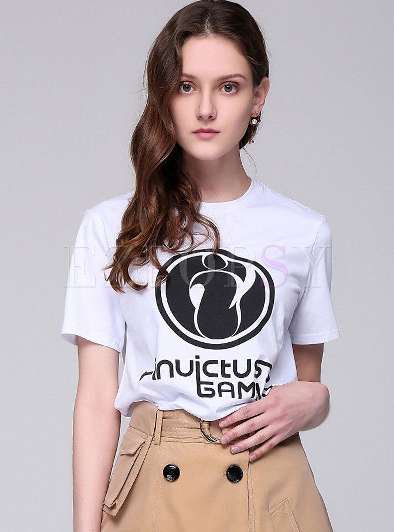 Chic O-neck Cartoon Print Casual T-shirt