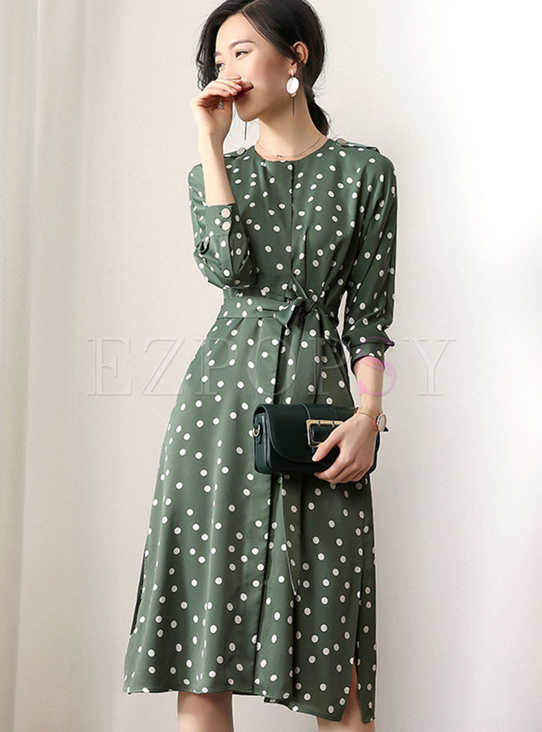 Polka Dot Belted Slit Slim Skater Dress