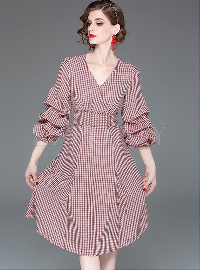 Plaid V-neck Puff Sleeve Gathered Waist Skater Dress