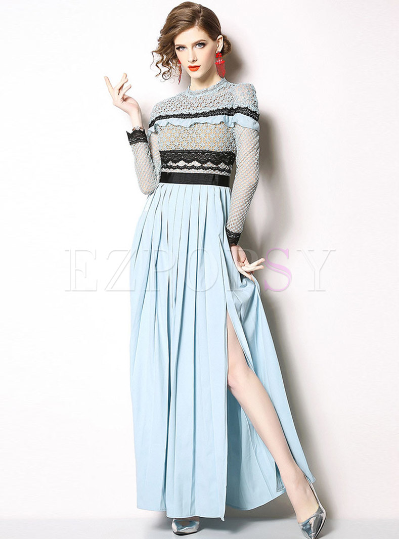 Lace Splicing Gathered Waist Pleated Maxi Dress