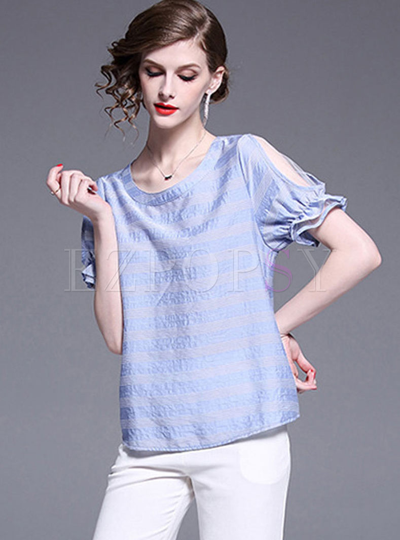 O-neck Mesh Off Shoulder Pullover T-shirt