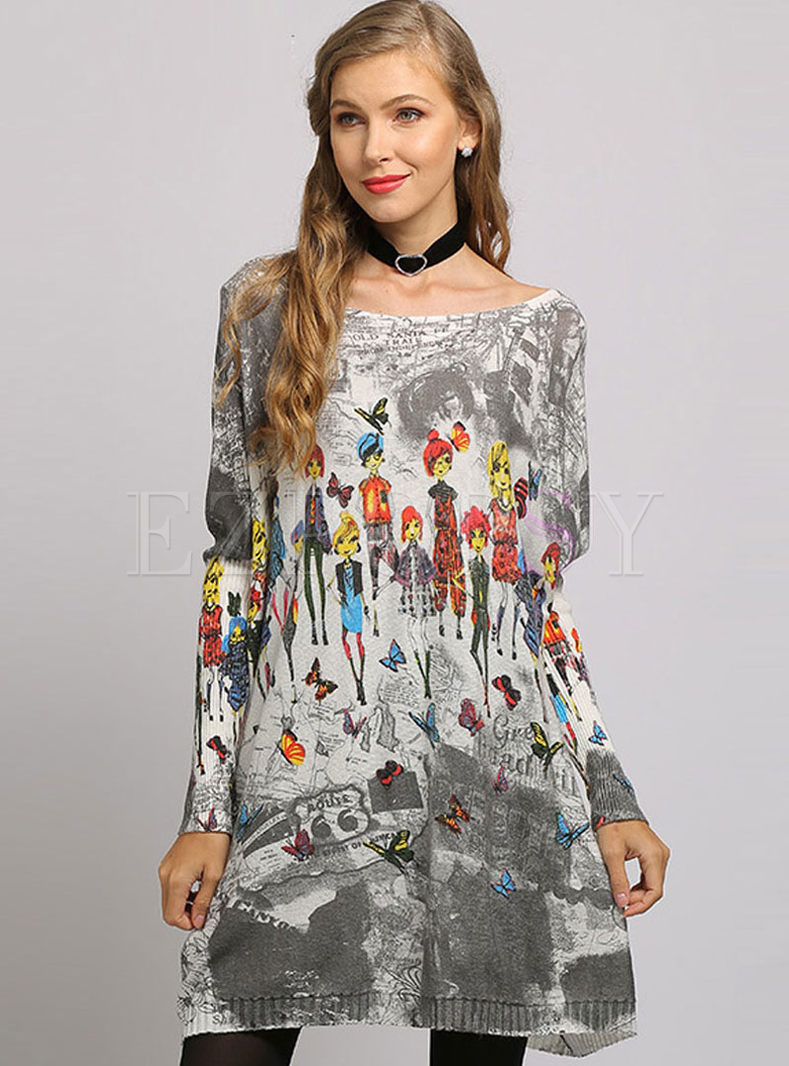 Brief Bat Sleeve Print Knitted Dress