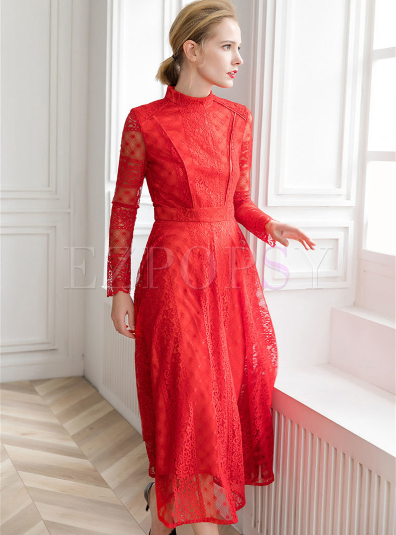 Elegant Stand Collar Long Sleeve Embroidered Lace Dress