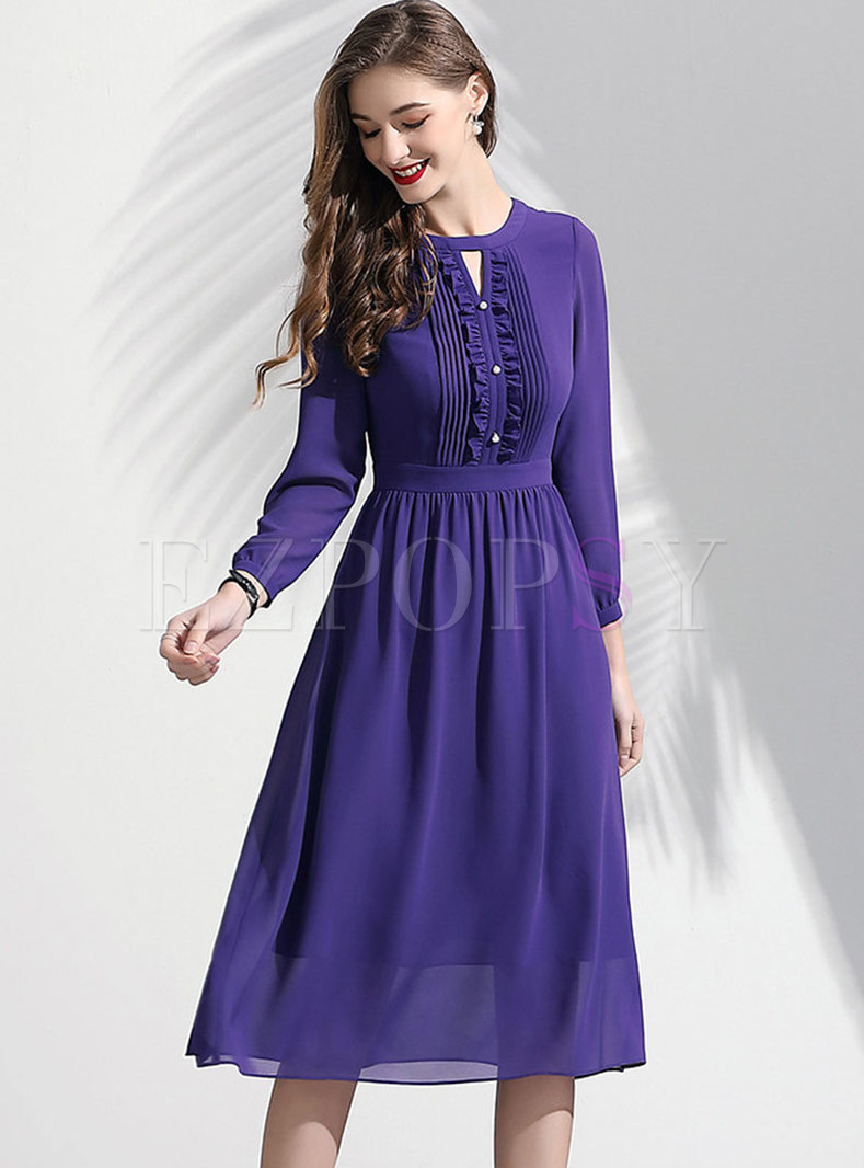 Elegant O-neck Hollow Out Gathered Waist Skater Dress