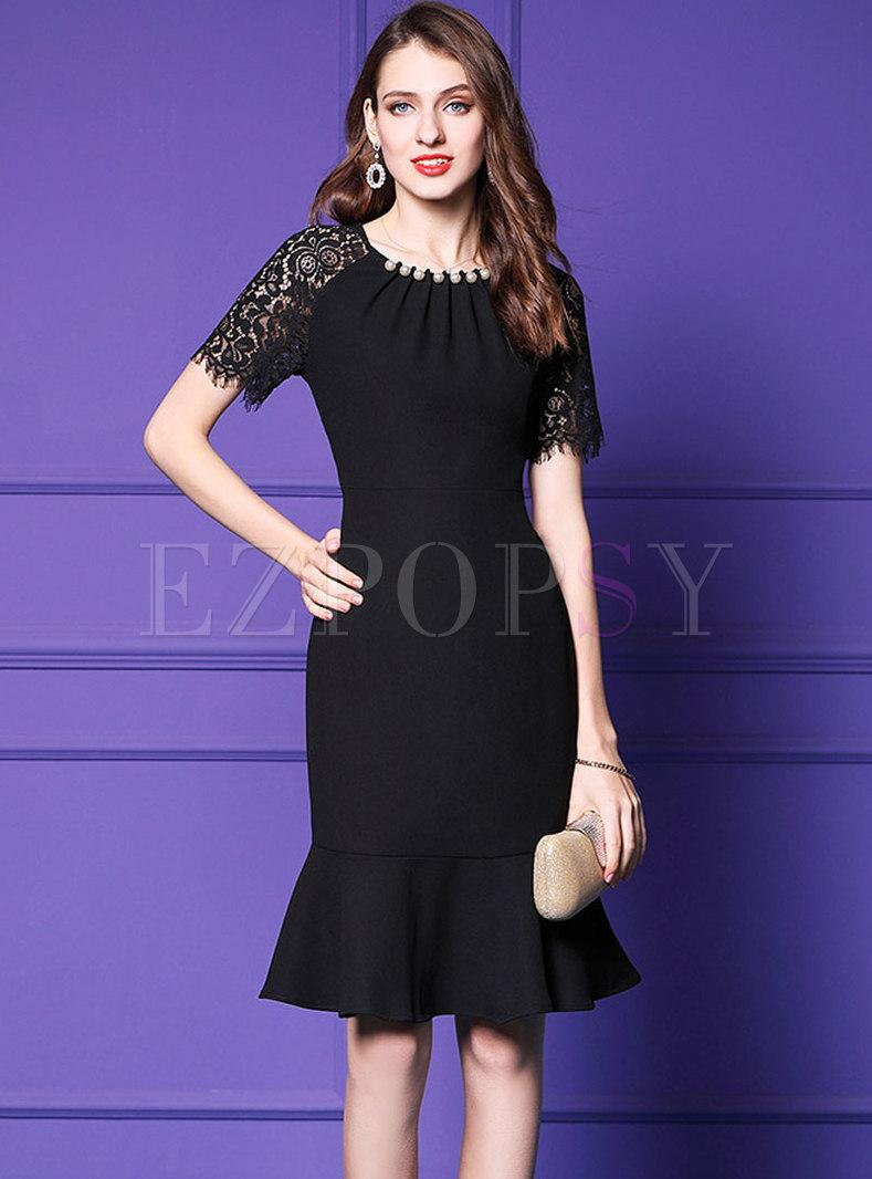 Sexy Black Lace Patchwork Slim Mermaid Dress