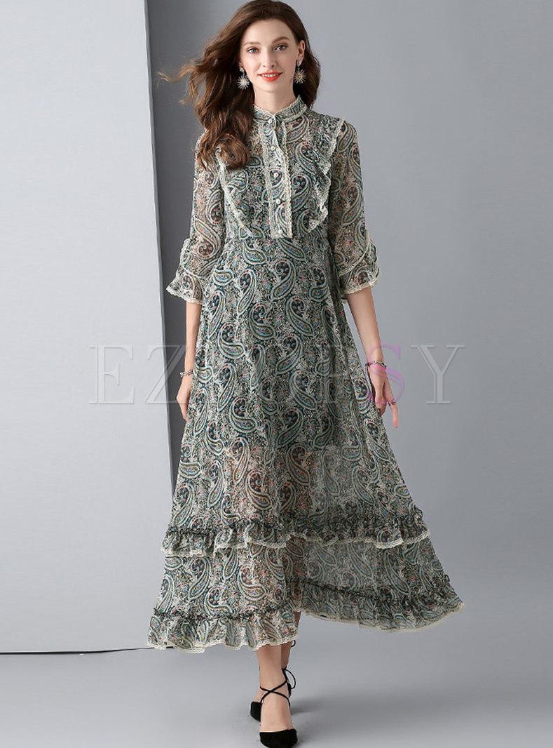 Print Stand Collar Slim Hem Maxi Dress