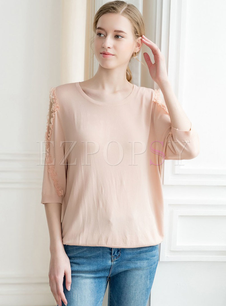 Casual O-neck Off Shoulder Knitted Top