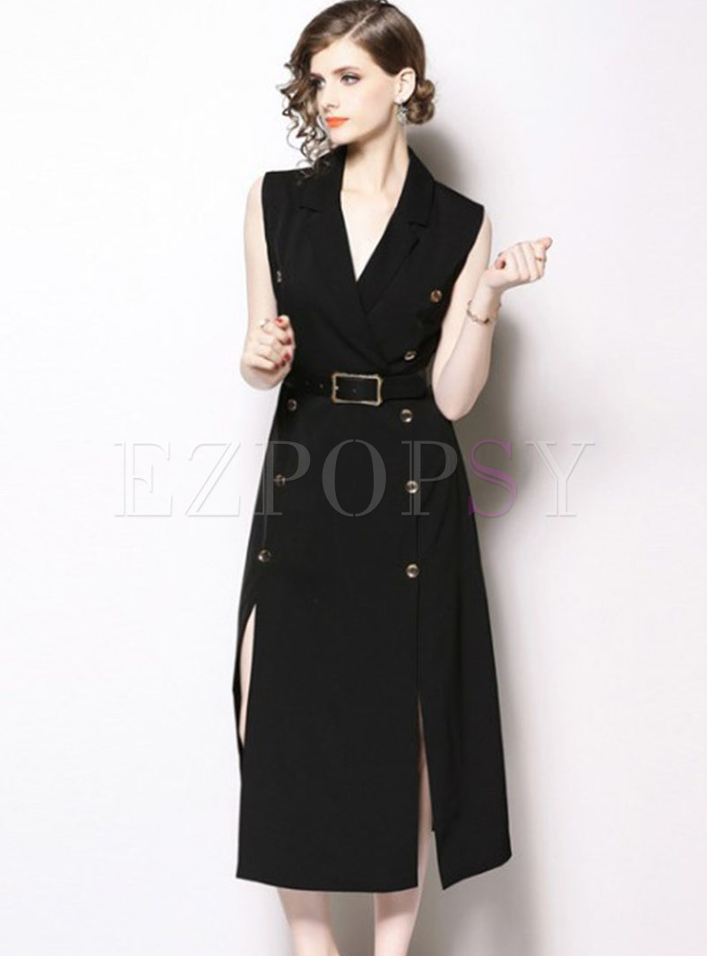 Elegant Notched Belted Double-breasted Slit Slim Dress
