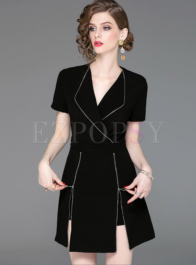 Black Turn Down Collar Slim Pant Suits