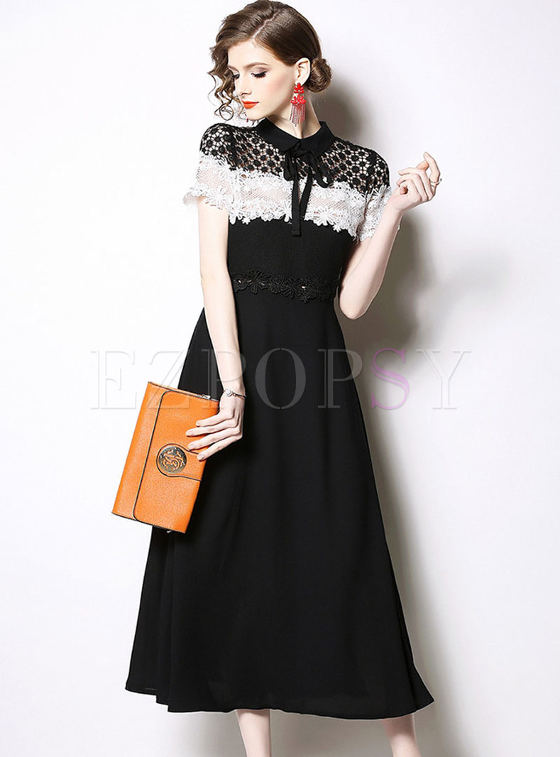 Lace Bowknot Openwork Patchwork Midi Dress