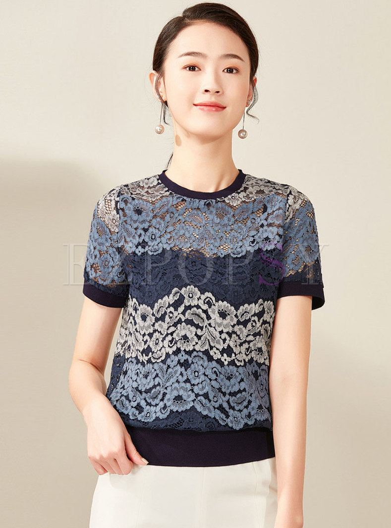 Brief Hollow Out Lace Short Sleeve Top