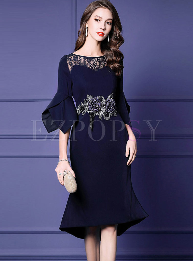 O-neck Waist Slim Bodycon Mermaid Dress