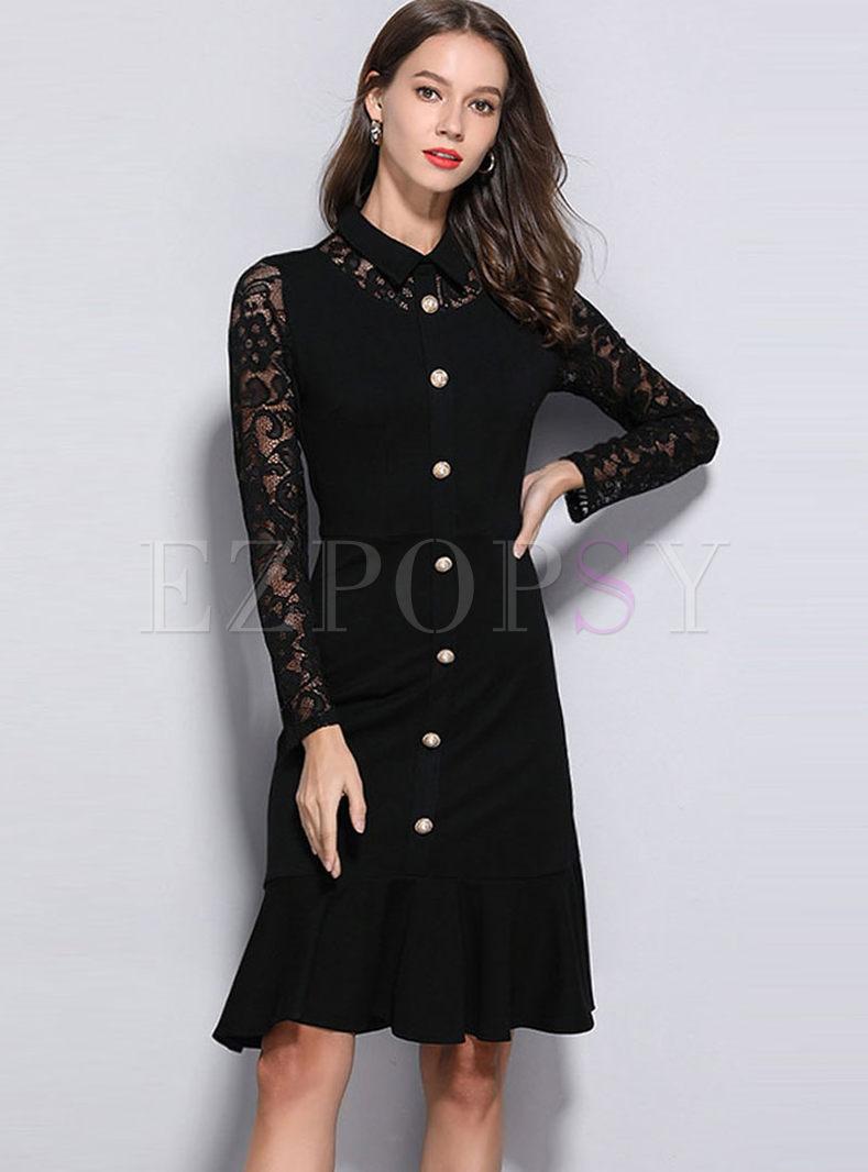Lace Long Sleeve Splicing Falbala Slim Dress
