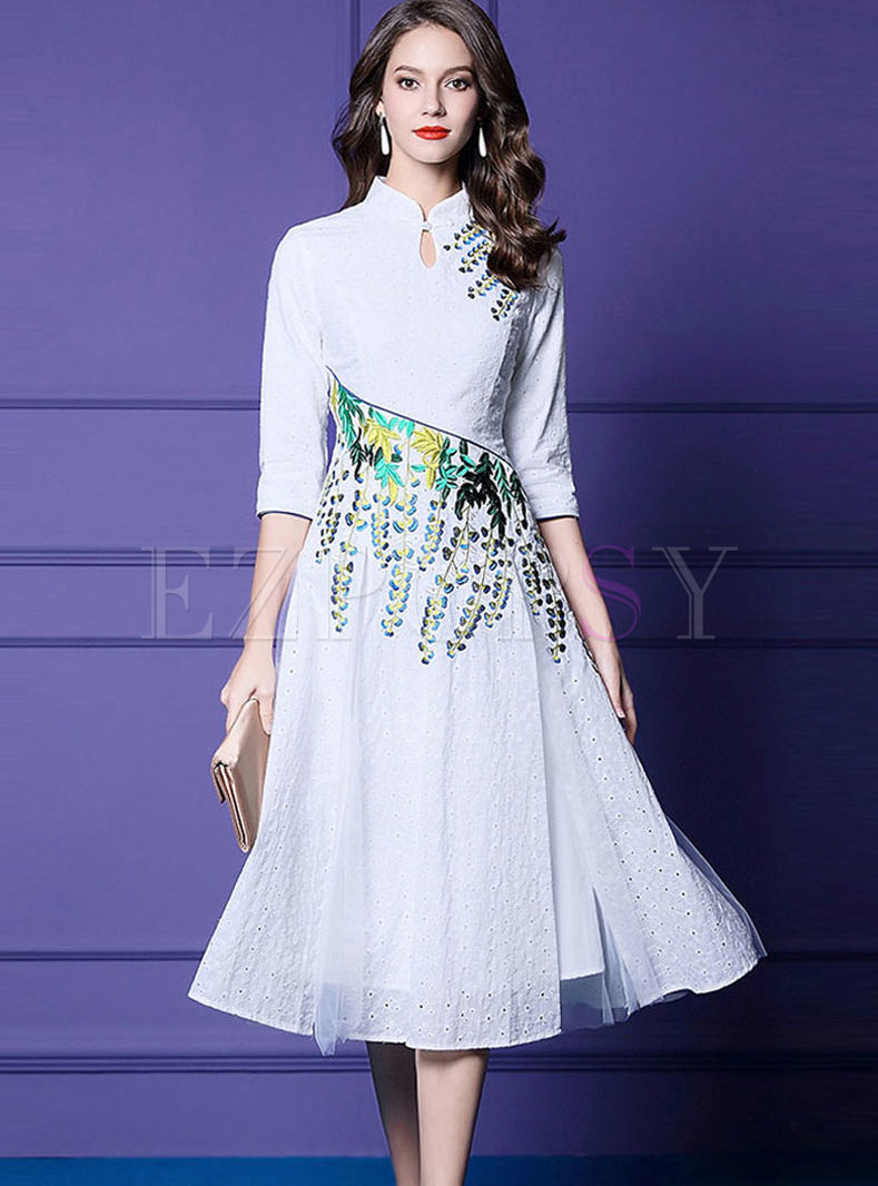 Mandarin Collar Embroidered A Line Dress