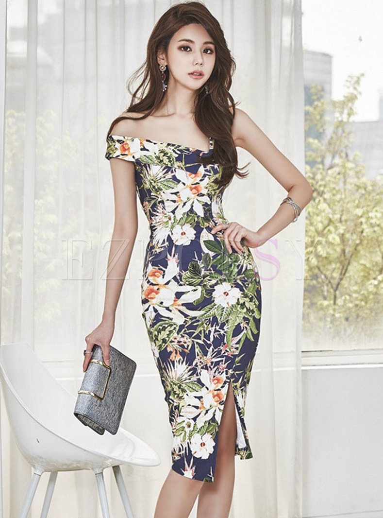Floral Slash Neck Slit Bodycon Dress
