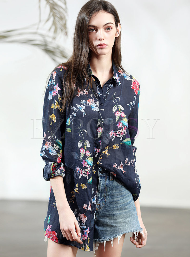 Print Loose Turn-down Single-breasted Blouse