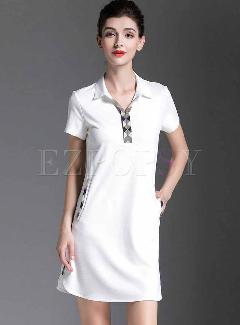 Brief Lapel Short Sleeve Slim Dress