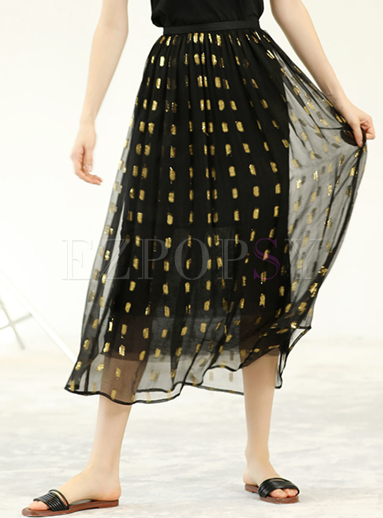 Casual Silk Print High Waist A Line Skirt
