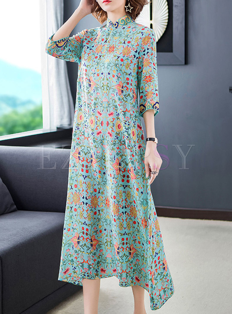 Vintage Floral Mandarin Collar Shift Dress