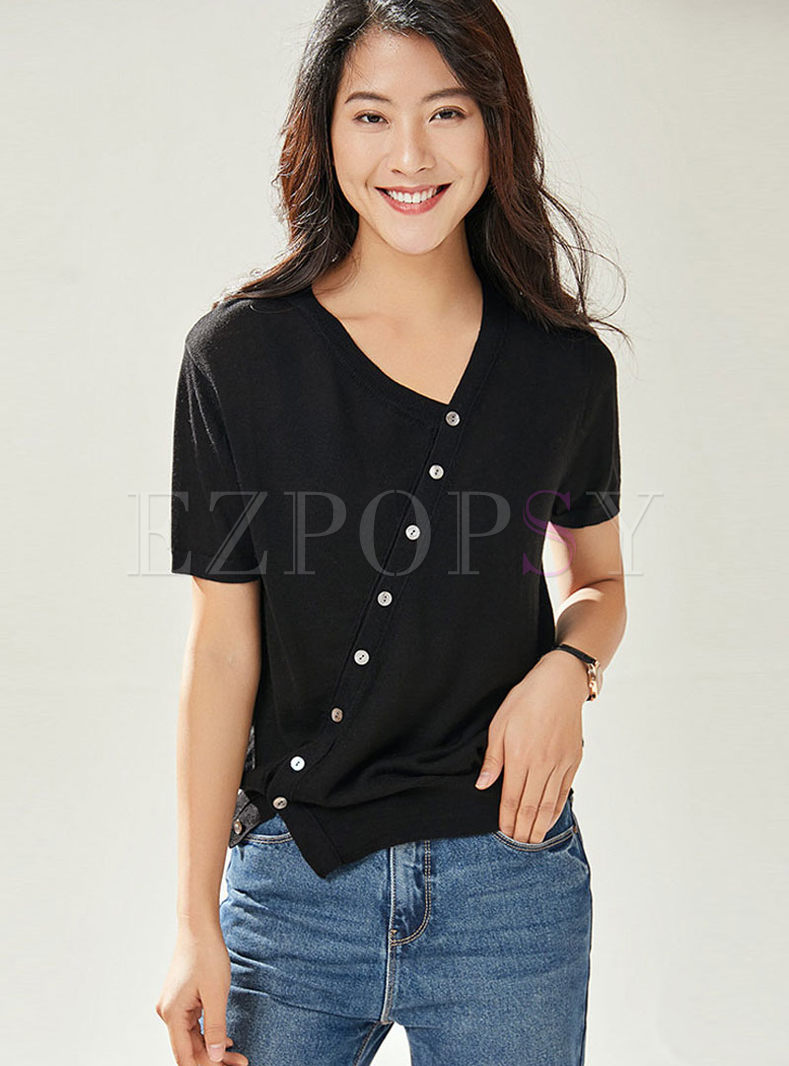 V-neck Short Sleeve Slit Knitted T-shirt