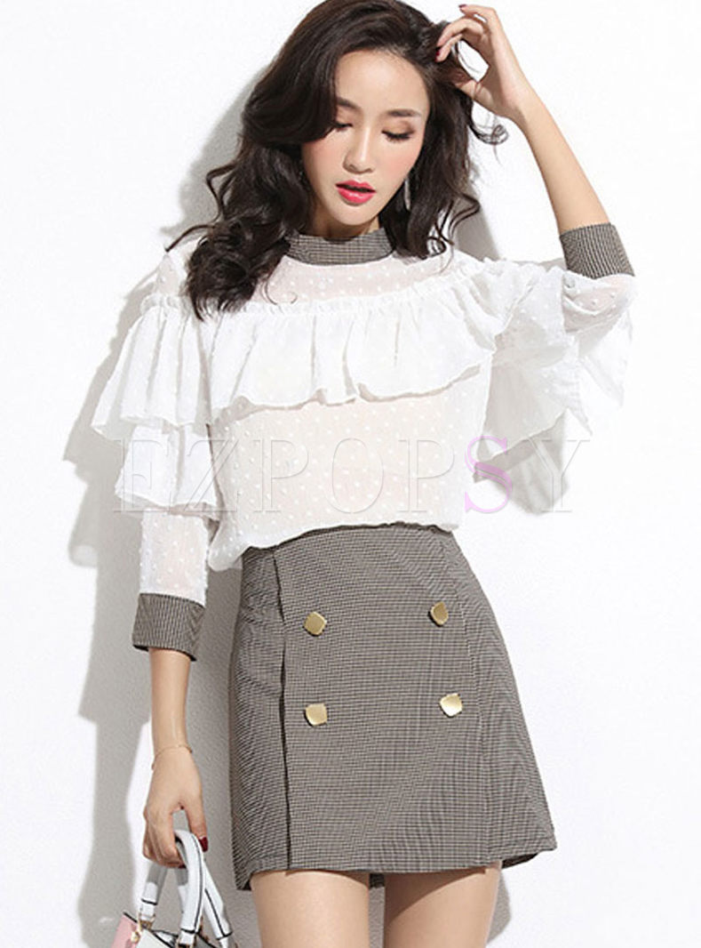 Stylish Long Sleeve Plaid Two Piece Outfits