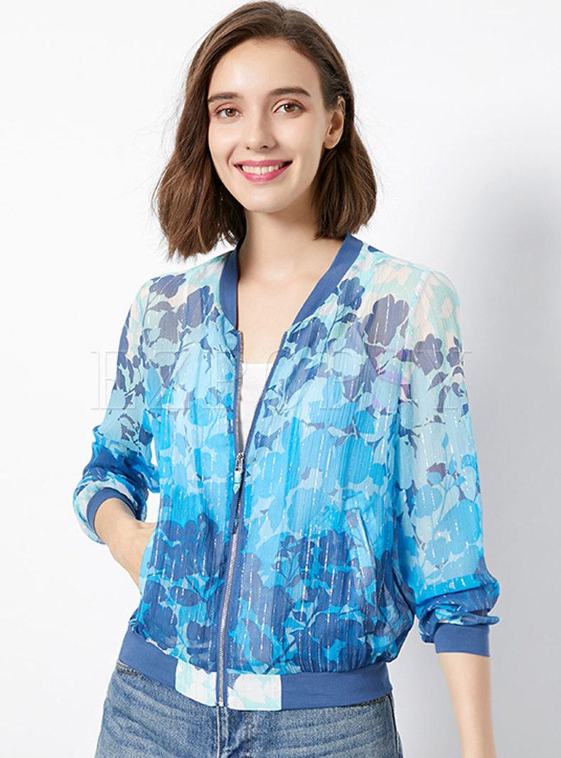 V-neck Silk Print Slim Short Jacket