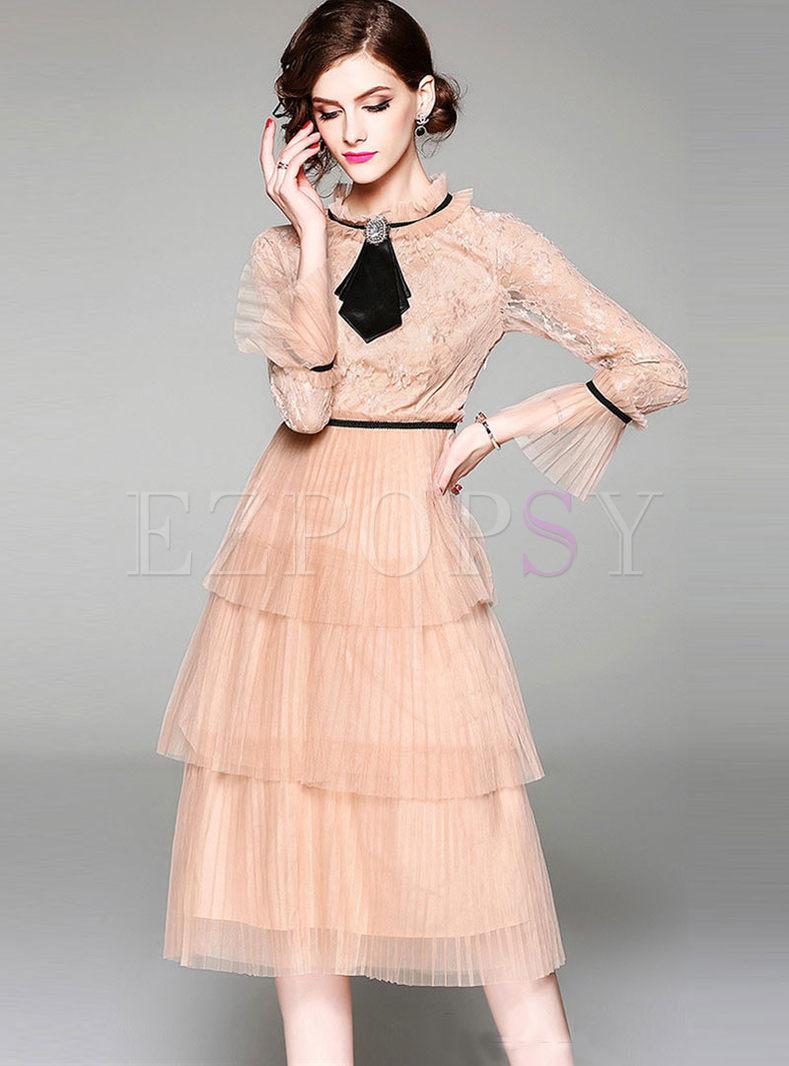 Standing Collar Long Sleeve Mesh Dress
