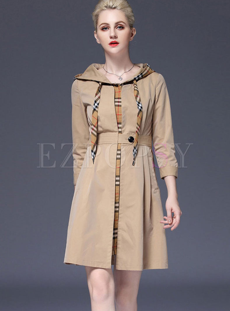 Fashion Hooded Plaid Splicing Trench Coat